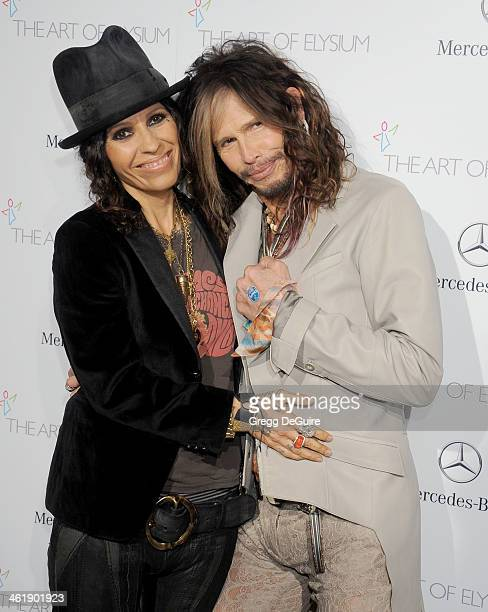 Singers Linda Perry and Steven Tyler arrive at The Art of Elysium's 7th Annual HEAVEN Gala at the Guerin Pavilion at the Skirball Cultural Center on...