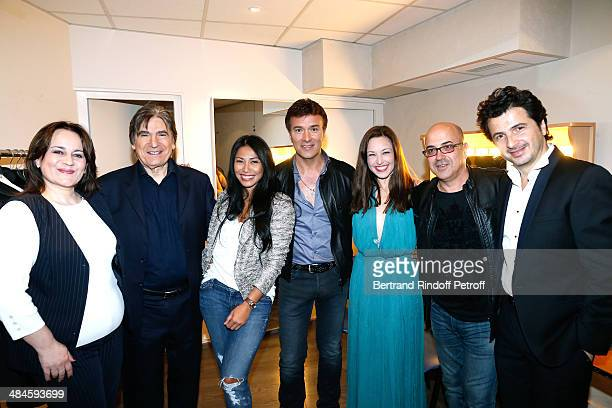 Singers Lisa Angell Serge Lama Anggun Tony Carreira Natasha StPier composers Jacques Veneruso and David Gategno attend Tony Carreira in concert at...