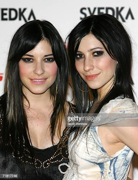 Singers Lisa Origliasso and Jess Origliasso of The Veronicas arrive for the Miss Sixty spring 2007 after party celebration at the Soho Grand Hotel on...