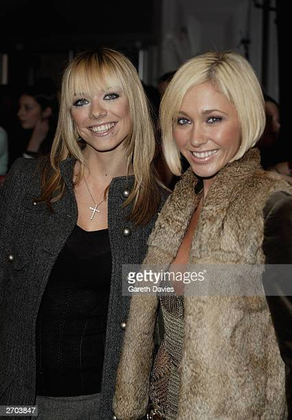 Singers Liz McClarnen and Jenny Frost of the band Atomic Kitten attend the 2003 MTV Europe Music Awards at Ocean Terminal on November 6 2003 in...