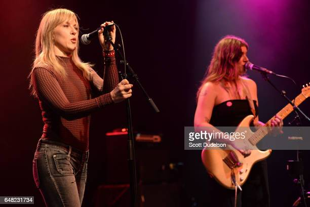 Singers Liz Phair and Bethany Cosentino of Best Coast perform onstage during the Don't Site Down Planned Parenthood Benefit Concert at El Rey Theatre...