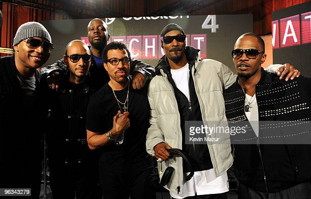 COVERAGE* Singers LL Cool J Swizz Beatz Wyclef Jean Lionel Richie Snoop Dogg and Jamie Foxx at the 'We Are The World 25 Years for Haiti' recording...