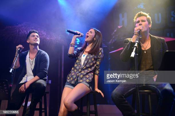 Singers Logan Henderson Victoria Justice and James Maslow perform at the Big Time Rush press conference and tour announcement at House of Blues on...