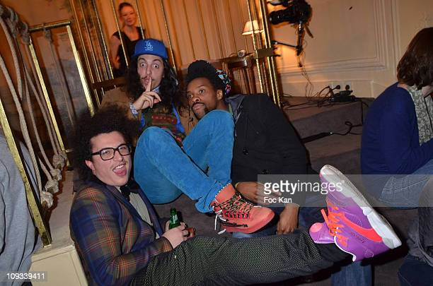 Singers Lorent Idir, his twin brother François Djemel and Patrick Biyik from the 'Twin Twin' band attend the 'Canal Street' Concert Party at Cafe...