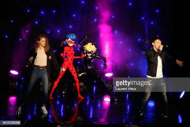 Singers Lou and LenniKim perform during 'Miraculous Characters'Wax Wok Unveiling' at Musee Grevin on April 4 2018 in Paris France