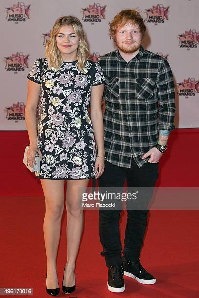 Singers Louane Emera and Ed Sheeran attend the 17th NRJ Music Awards ceremony at Palais des Festivals on November 7 2015 in Cannes France