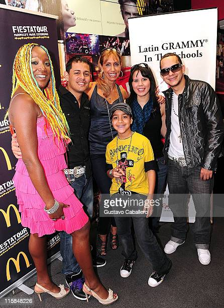 Singers LucreciaAngel Lili Estefan Alih Jey Khriz and Miguelito attends the Latin GRAMMY in the Schools at Miami Coral Park Senior High School on...
