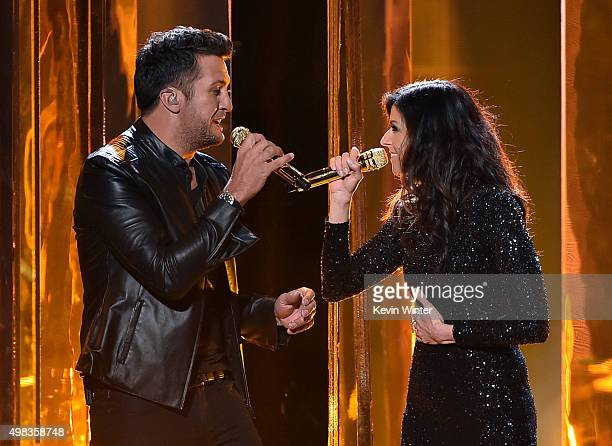 Singers Luke Bryan and Karen Fairchild perform onstage during the 2015 American Music Awards at Microsoft Theater on November 22 2015 in Los Angeles...