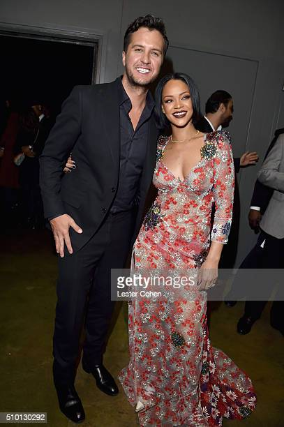 Singers Luke Bryan and Rihanna attend the 2016 MusiCares Person of the Year honoring Lionel Richie at the Los Angeles Convention Center on February...