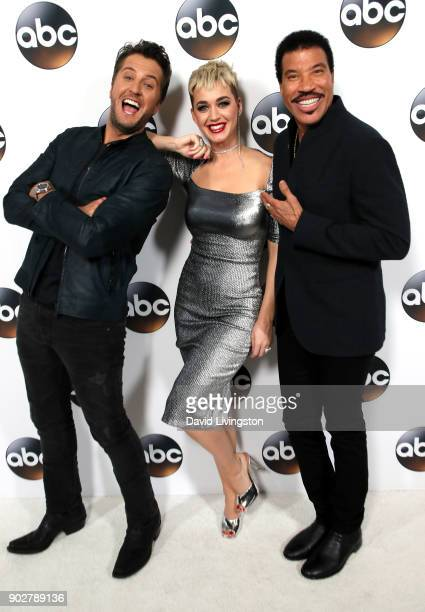 Singers Luke Bryan Katy Perry and Lionel Richie attend Disney ABC Television Group's TCA Winter Press Tour 2018 at The Langham Huntington Pasadena on...