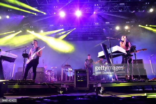 Singers Luke Steele of Empire of the Sun and Daniel Johns of the band Silverchair performs with their band DREAMS on the Mojave stage during week 1...