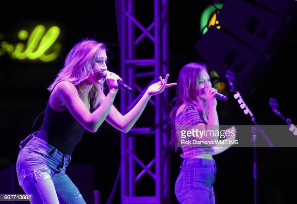 Singers Madison Marlow and Taylor Dye of Maddie Tae perform onstage at the Bash at the Beach presented by WME at the Mandalay Bay Beach at Mandalay...