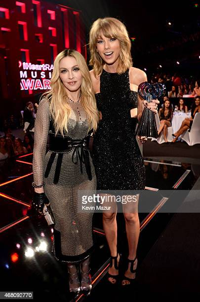 Singers Madonna and Taylor Swift attend the 2015 iHeartRadio Music Awards which broadcasted live on NBC from The Shrine Auditorium on March 29 2015...