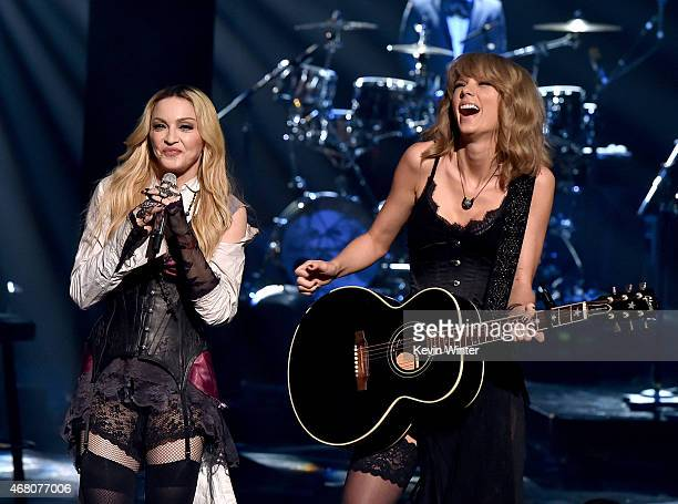 Singers Madonna and Taylor Swift perform 'Ghost Town' onstage during the 2015 iHeartRadio Music Awards which broadcasted live on NBC from The Shrine...