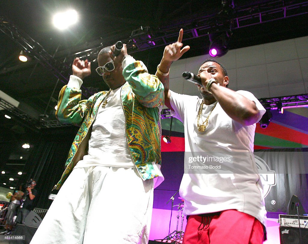 Singers Ma$e (L) and Eric Bellinger perform onstage at the Music Matters presented by Nissan during the 2014 BET Experience At L.A. LIVE on June 28, 2014 in Los Angeles, California.