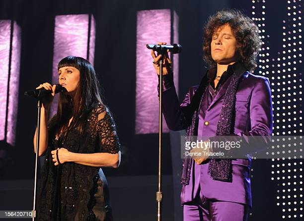 Singers Mala Rodriguez and Enrique Bunbury during the 2012 Person of the Year honoring Caetano Veloso at the MGM Grand Garden Arena on November 14...