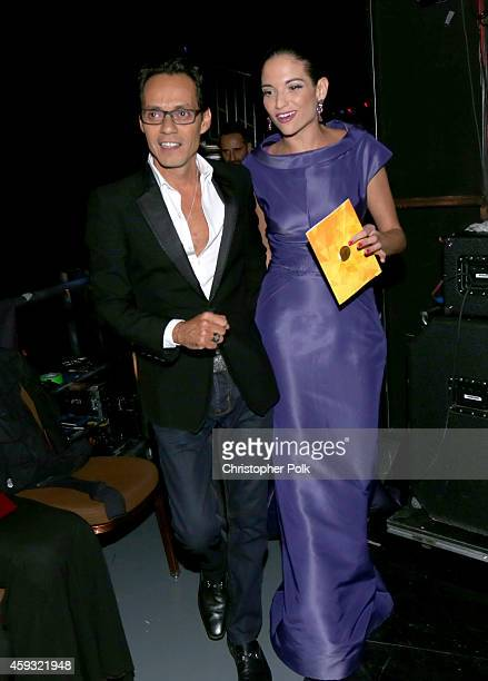 Singers Marc Anthony and Natalia Jimenez attend the 15th Annual Latin GRAMMY Awards at the MGM Grand Garden Arena on November 20 2014 in Las Vegas...