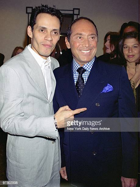 Singers Marc Anthony and Paul Anka get together at the New York Marriott Marquis on Broadway for a fundraiser benefiting the Toys 'R' Us Children's...