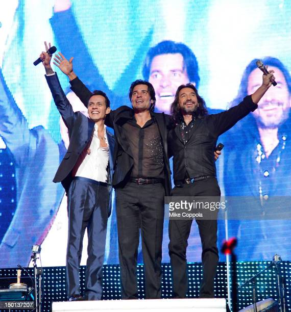 Singers Marc Anthony Chayanne and Marco Antonio Solis perform at Izod Center on August 10 2012 in East Rutherford New Jersey