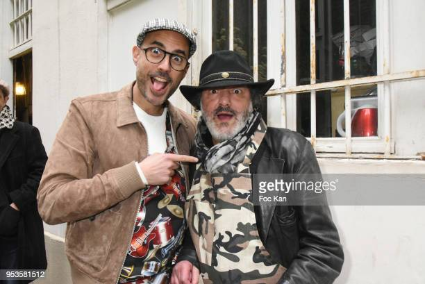Singers Marc Fichel and Rachid Taha attend Zelia Van Den Bulke Aprons show At Zelia Abbesses Shop on May 1, 2018 in Paris, France.