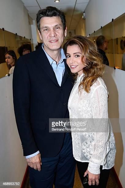 Singers marc Lavoine and Julie Zenatti attend the 'Vivement Dimanche' French TV Show at Pavillon Gabriel on April 8 2015 in Paris France