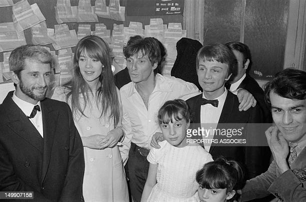 Singers Marcel Amont Francoise Hardy Hugues Aufray and Claude Francois at the premiere of singer Hugues Aufray at Olympia Music Hall on March 25 1966...