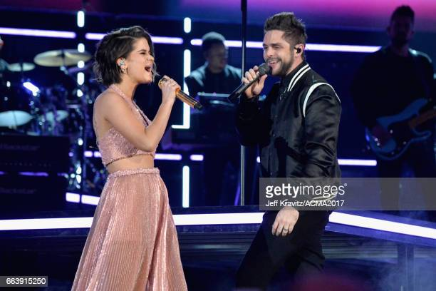 Singers Maren Morris and Thomas Rhett perform onstage at the 52nd Academy Of Country Music Awards at TMobile Arena on April 2 2017 in Las Vegas Nevada