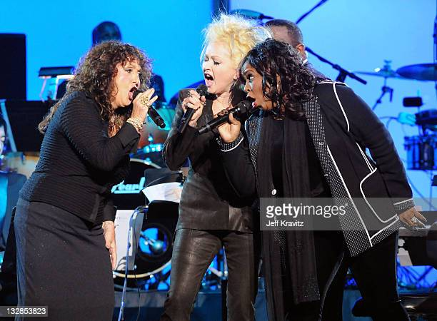 Singers Maria Muldaur Betty Wright and Cyndi Lauper perform onstage during The 53rd Annual GRAMMY Awards held at Staples Center on February 13 2011...