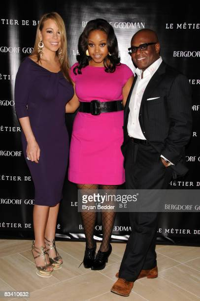 Singers Mariah Carey and Chrisette Michele and Antonio LA Reid attend the launch of Le Metier De Beaute cosmetics at Bergdorf Goodman on October 23...