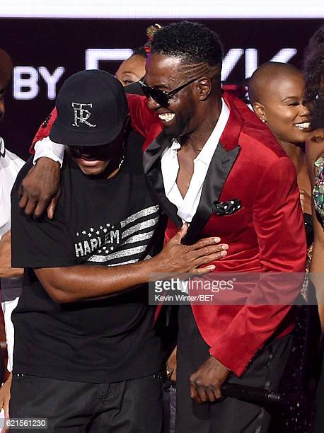 Singers Markell Riley of WreckxnEffect and Aaron Hall of Guy perform onstage during the 2016 Soul Train Music Awards on November 6 2016 in Las Vegas...