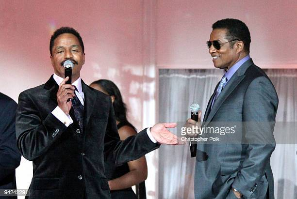 Singers Marlon Jackson and Jackie Jackson speak during the AE launch of The Jacksons A Family Dynasty premiering Sunday December 13 2009 at...
