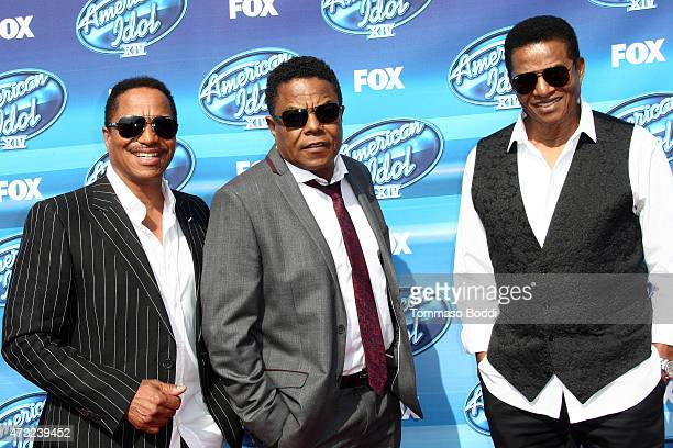 Singers Marlon Jackson Tito Jackson and Jackie Jackson of The Jacksons attend the 'American Idol' XIV grand finale at Dolby Theatre on May 13 2015 in...
