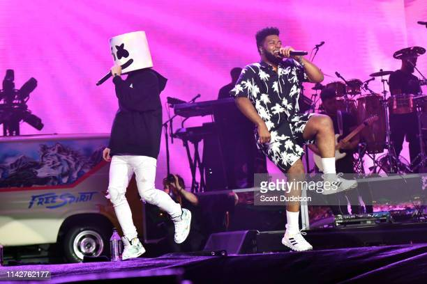 Singers Marshmello and Khalid perform onstage during Weekend 1 Day 3 of the Coachella Valley Music and Arts Festival on April 14 2019 in Indio...
