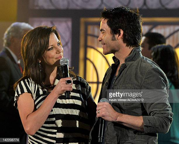 Singers Martina McBride and Pat Monahan perform onstage during the 47th Annual Academy Of Country Music Awards rehearsals held at the MGM Grand...