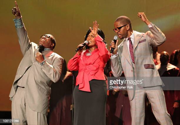 Singers Marvin Sapp CeCe Winans and Donald Lawrence perform onstage during Verizon's How Sweet The Sound 2010 event at ORACLE Arena on October 9 2010...