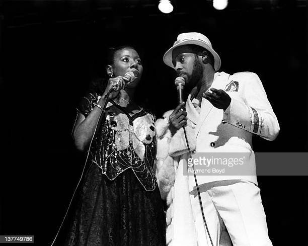 Singers Mary Davis and Abdul Ra'oof of the SOS Band performs at the Auditorium Theater in Chicago Illinois in 1984