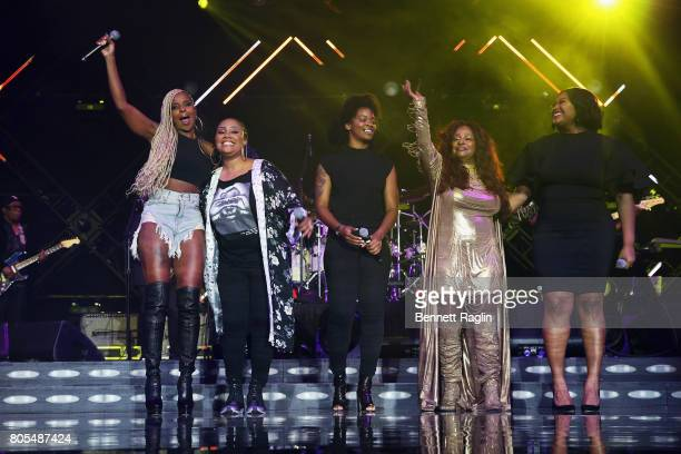 Singers Mary J Blige Lalah Hathaway Ari Lennox Chaka Khan and Jazmine Sullivan perform onstage at the 2017 ESSENCE Festival Presented By Coca Cola at...