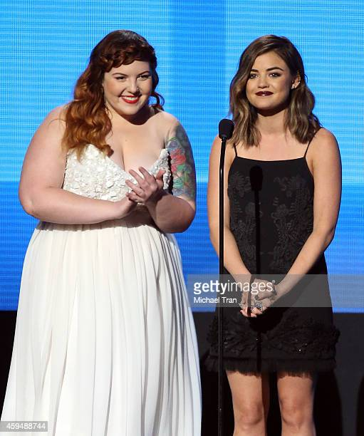 Singers Mary Lambert and Lucy Hale speak onstage during the 2014 American Music Awards held at Nokia Theatre L.A. Live on November 23, 2014 in Los...