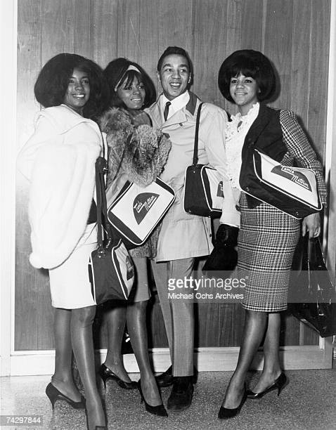 Singers Mary Wilson Diana Ross and Florence Ballard of the RB vocal group The Supremes pose for a portrait with fellow Tamla Motown artist Smokey...