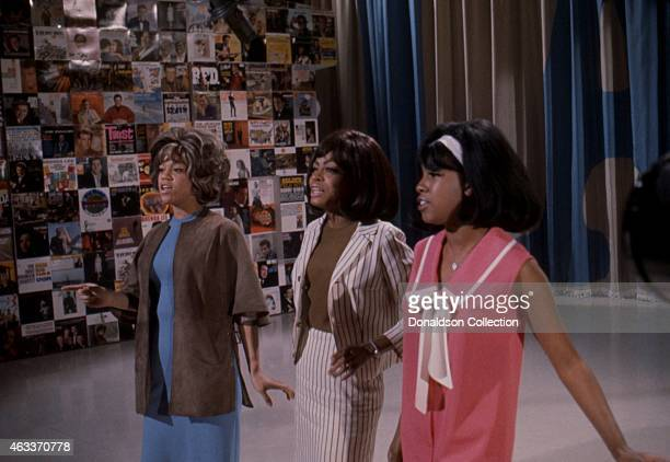 Singers Mary Wilson Florence Ballard and Diana Ross of the R and B Group The Supremes rehearse for their performance on the TV show Hullabaloo 0n MAY...