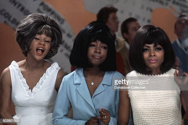 Singers Mary Wilson Florence Ballard and Diana Ross of the R and B Group 'The Supremes' rehearse for their performance on the TV show Hullabaloo on...