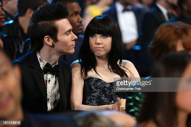 Singers Matthew Koma and Carly Rae Jepsen attend the 55th Annual GRAMMY Awards at STAPLES Center on February 10 2013 in Los Angeles California