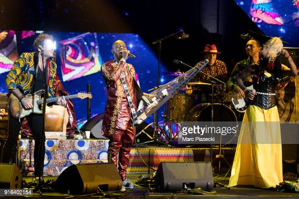 Singers Matthieu Chedid aka M and Toumani and Sidiki Diabate and Fatoumata Diawara perform during the 33rd Victoires de la Musique 2018 during the...