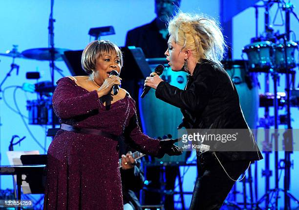 Singers Mavis Staples and Cyndi Lauper perform onstage during The 53rd Annual GRAMMY Awards held at Staples Center on February 13 2011 in Los Angeles...