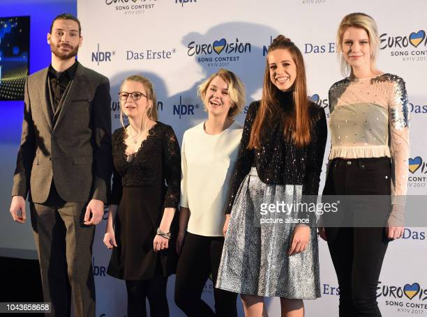 Singers Maximilian Feige , Helene Nissen, Yosefin Buohler, Felicia Lu Kuerbiss and Isabella 'Levina' Lueen standing on stage at a press conference...