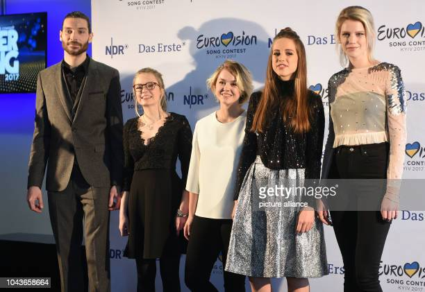 Singers Maximilian Feige, Helene Nissen, Yosefin Buohler, Felicia Lu Kuerbiss and Isabella 'Levina' Lueen standing on stage at a press conference...