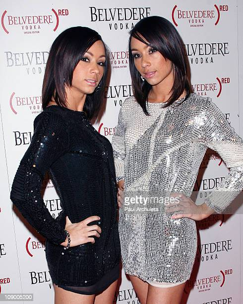 Singers Maya McClean and Nandy McClean arrive at the Belvedere RED special edition bottle benefit launch party at Avalon on February 10 2011 in...