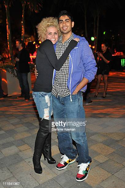 """Singers Megan Joy and Anoop Desai attend the grand opening of """"Pandora"""" at Vibiana on October 27, 2009 in Los Angeles, California."""