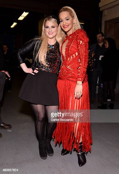 Singers Meghan Trainor and Rita Ora attend 1035 KISS FM's Jingle Ball 2014 at Allstate Arena on December 18 2014 in Chicago Illinois