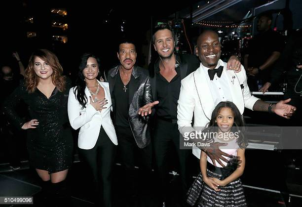 Singers Meghan Trainor Demi Lovato Lionel Richie Luke Bryan actorsinger Tyrese Gibson and Shayla Somer Gibson attend The 58th GRAMMY Awards at...